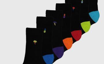 Black Neon Palm Motif Stay Fresh Socks 7 Pack