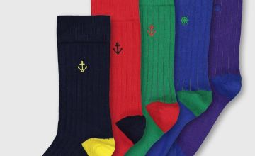 Multicoloured Nautical Embroidery Rib Trouser Socks 5 Pack