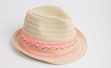 Cream Neon Trilby Flower Detail Hat