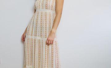 Ditsy Floral Print & Crochet Trim Maxi Dress