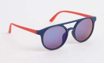 Navy & Red Circular Aviator Sunglasses