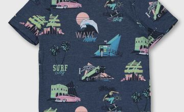 Navy Ocean Drive Printed T-Shirt