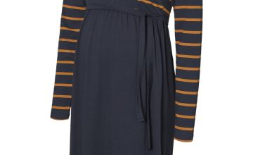Navy Striped Jersey Maternity Dress