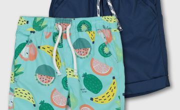 Fruit Print & Navy Poplin Shorts 2 Pack
