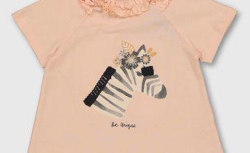 Pink Zebra Graphic T-Shirt