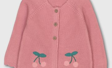 Pink Cherry Knitted Cardigan