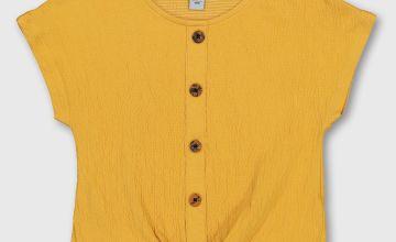 Mustard Tie Front Top