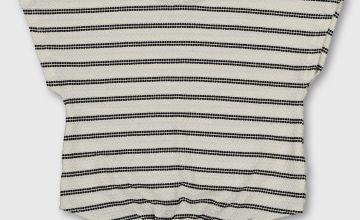 Textured Stripe Tie Front T-Shirt