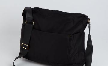 Black Nylon Cross-Body Bag - One Size