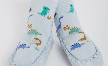 Blue Dinosaur Moccasin Slipper Socks