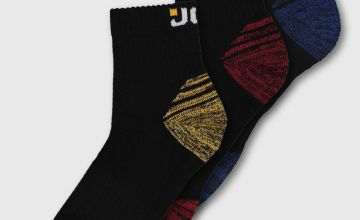 JCB Black & Multi Low Cut Technical Socks 3 Pack - 6-11