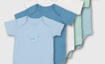 Blue Animal Motif Bodysuits 5 Pack