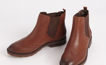 Sole Comfort Brown Leather Chelsea Brogue Ankle Boots