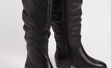 Sole Comfort Black Leather Slouch Boots