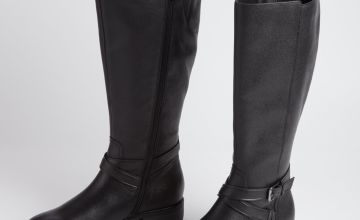 Sole Comfort Black Wide Calf Leather Riding Boots