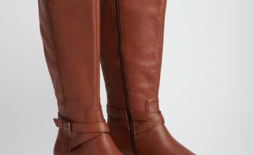 Sole Comfort Tan Wide Calf Leather Riding Boots