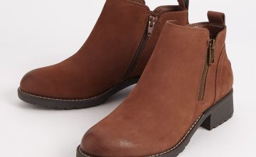 Sole Comfort Brown Chunky Heel Leather Ankle Boots