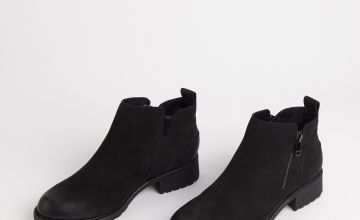Sole Comfort Black Leather Ankle Boots