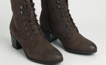 Sole Comfort Brown Leather Lace Up Ankle Boot
