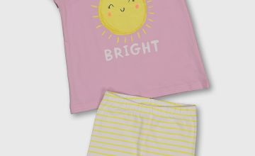 'Shine Bright' Top & Stripe Shorts Set