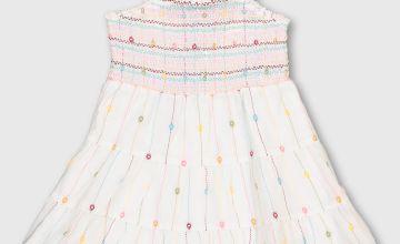 White Smocked Embroidered Sundress
