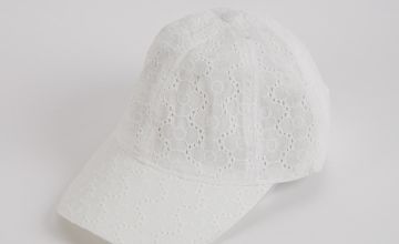 White Embroiderie Anglaise Cap - One Size