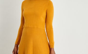 Orange Long Sleeve Soft Touch Jumper Dress