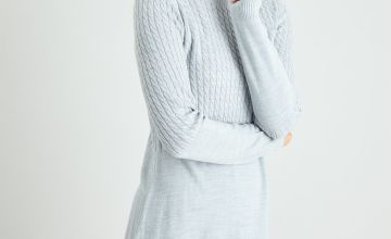 Grey Cable Yolk Soft Touch Jumper Dress