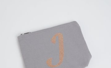 Grey Alphabet Letter Cosmetic Bag