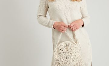 Oatmeal Cable Knit Jumper Dress
