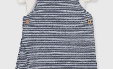 Navy Textured Dungarees & Bodysuit