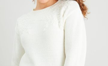 Cream Floral Embroidered Jumper With Wool