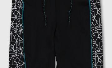 Black Swim Shorts With Geo Print