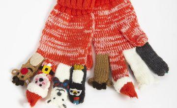 Christmas Knitted Finger Puppet Gloves