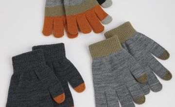 Khaki Touchscreen Gloves 3 Pack - One Size
