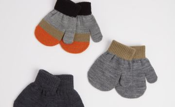 Grey, Khaki Mittens 3 Pack - One Size