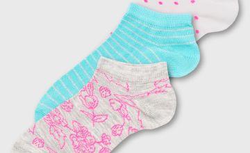 Pink & Blue Neon Floral Trainer Sock 3 Pack - 4-8