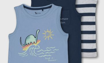 Dinosaur, Stripe & Navy Vest Top 3 Pack
