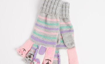 Stripy Knitted Finger Puppet Gloves