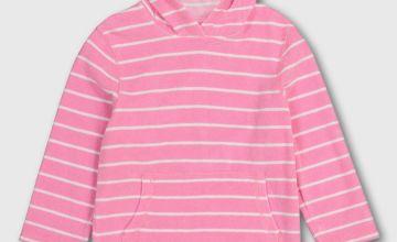 Pink Stripy Hooded Towel Dress