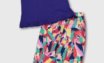 Parrot Print Trousers & Blue Vest