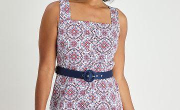 Tile Print Button-Through Dress