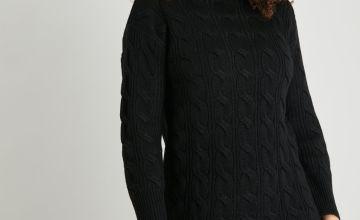 Black Cable Knit Jumper Dress