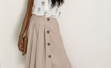 Cream Button Detail Box Pleat Midi Skirt