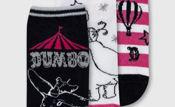 Disney Dumbo Pink & Monochrome Trainer Sock 3 Pack - 4-8