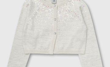 White Glitter Yoke Long Sleeve Bolero