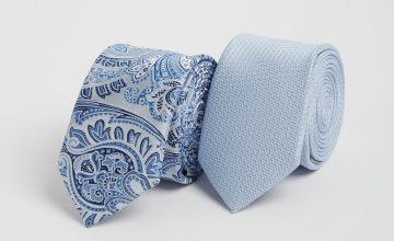 Silver & Blue Paisley & Plain Tie 2 Pack - One Size