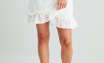 White Broderie Anglaise Frill Skirt