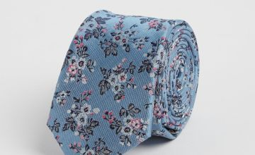 Blue Vintage Floral Print Tie - One Size