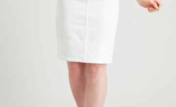 PETITE White Denim Schiffli Lace Trim Pencil Skirt